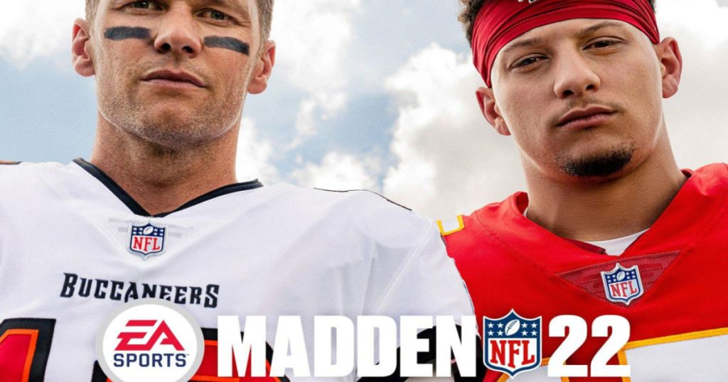 two football players on front of video game