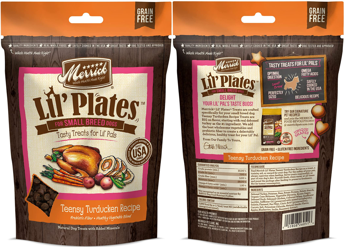 front and back view of a dog treats bag