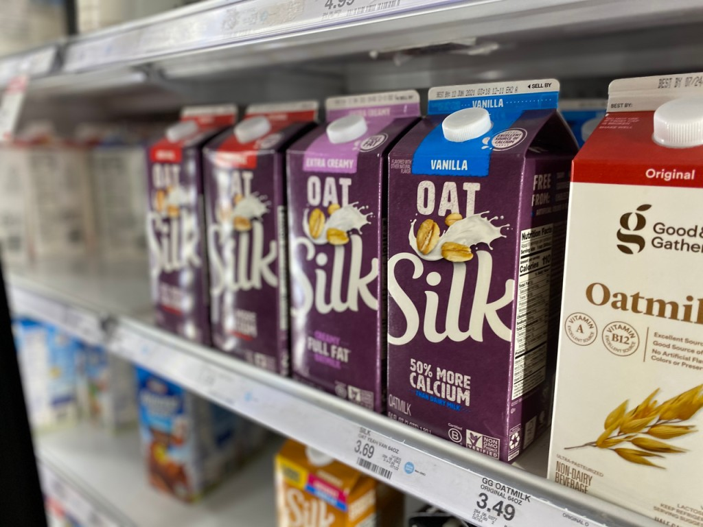 Oat Silk milks in refrigerated cooler