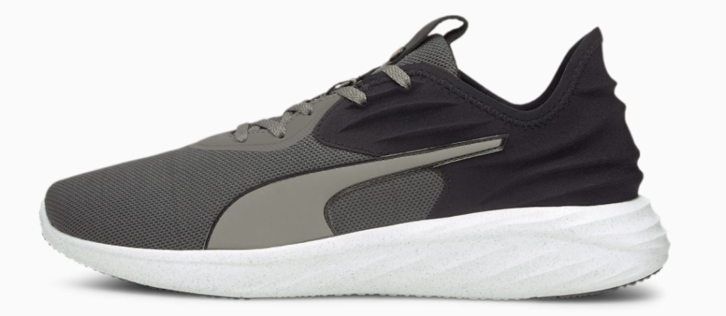 black, white and grey puma sneaker