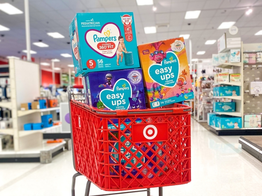 pampers 360 diapers and easy ups in target cart