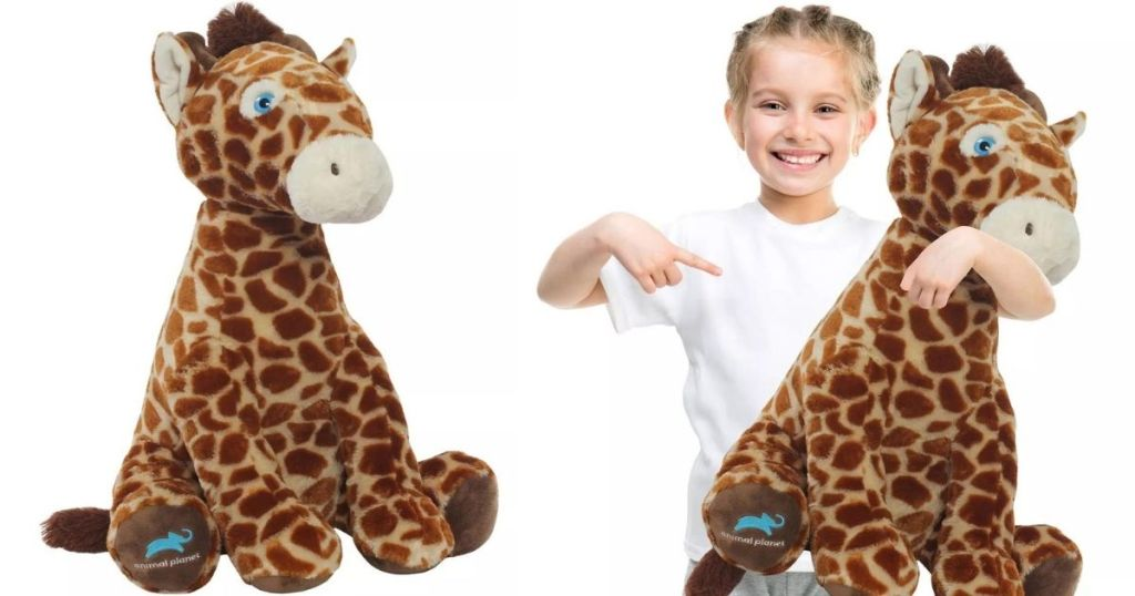 plush giraffe and a girl holding a plush giraffe
