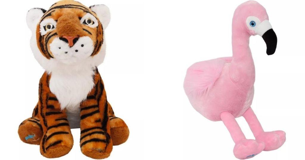 Plush Tiger and Flamingo