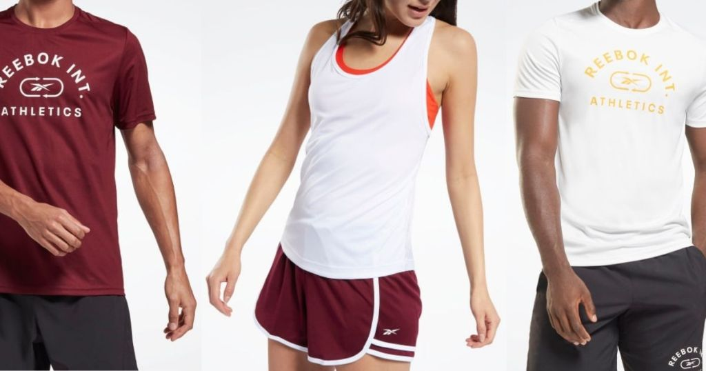 three people wearing Reebok shirts