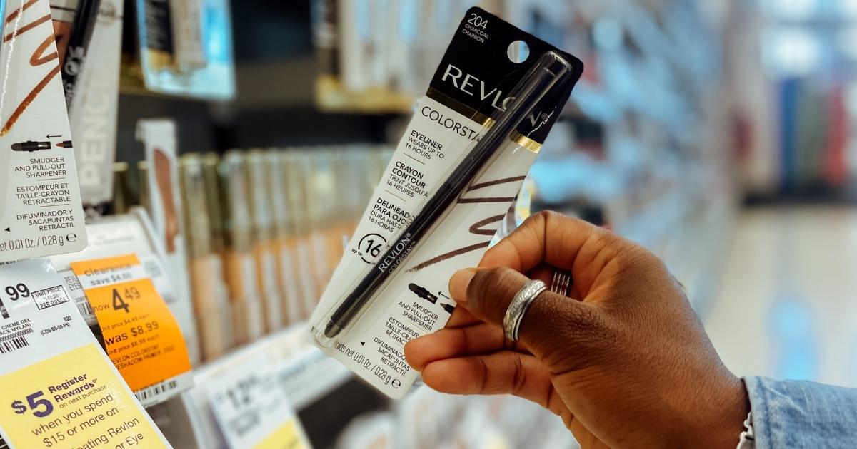 hand holding colorstay revlon eyeliner in store