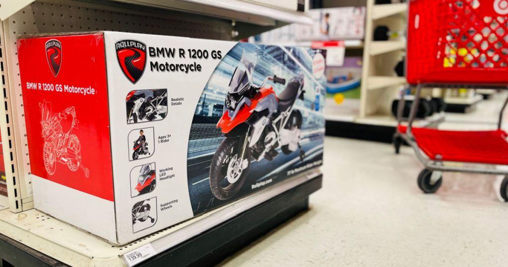 motorized motorcycle on shelf