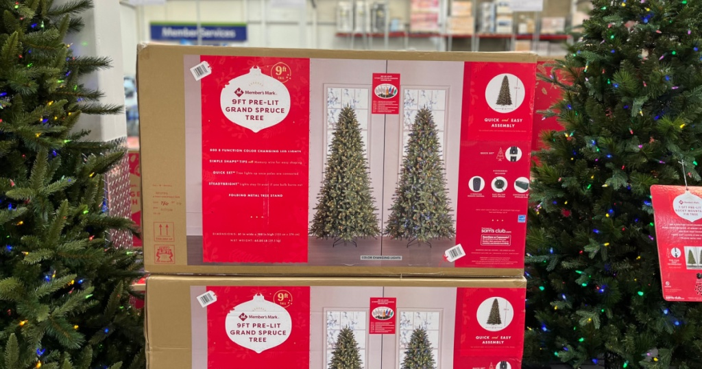 Large artificial christmas tree in box