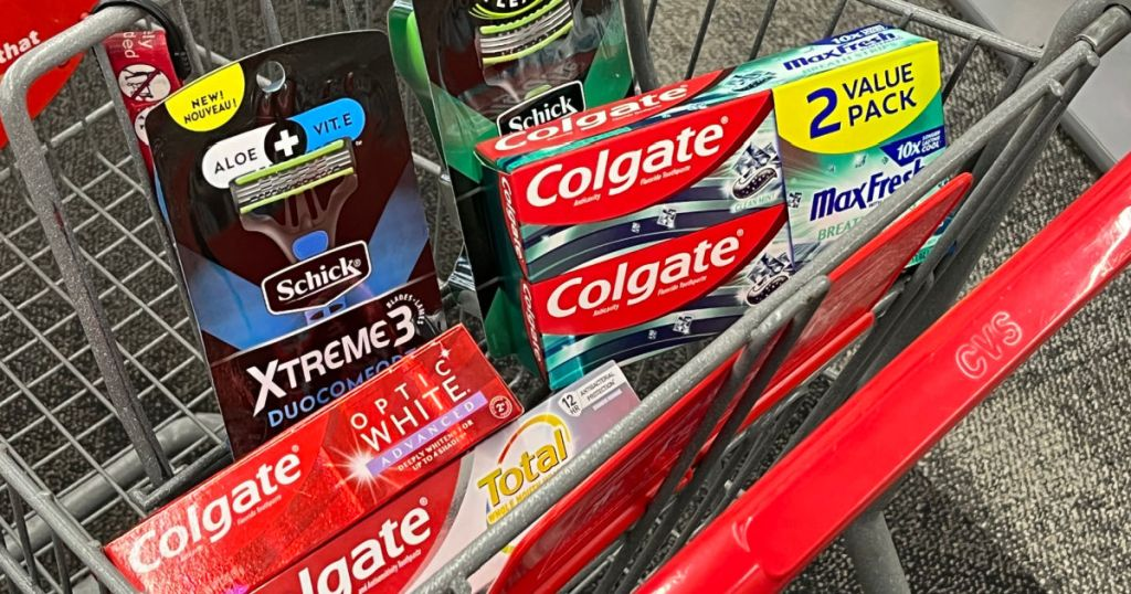 razors and toothpaste in front of red cart