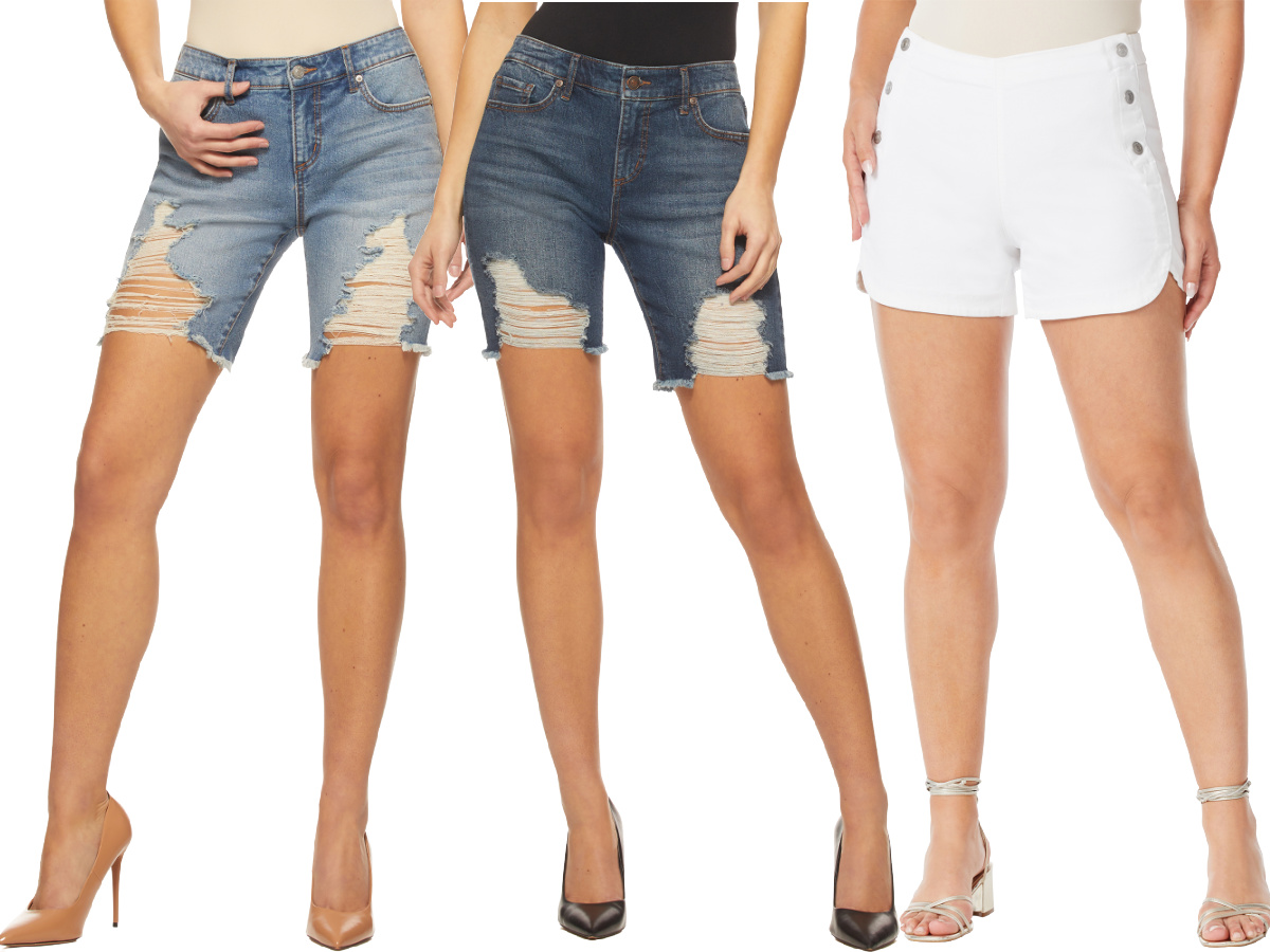 three stock images of women wearing distressed shorts and high heels