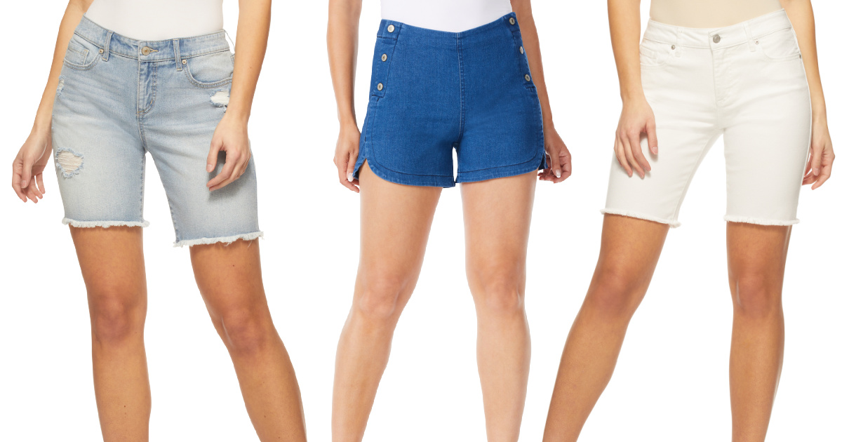 three stock images of women wearing shorts in denim blue and white shades