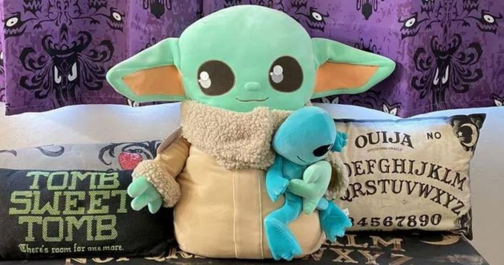 Star Wars The Child Ginormous Cuddle Plush on a bench