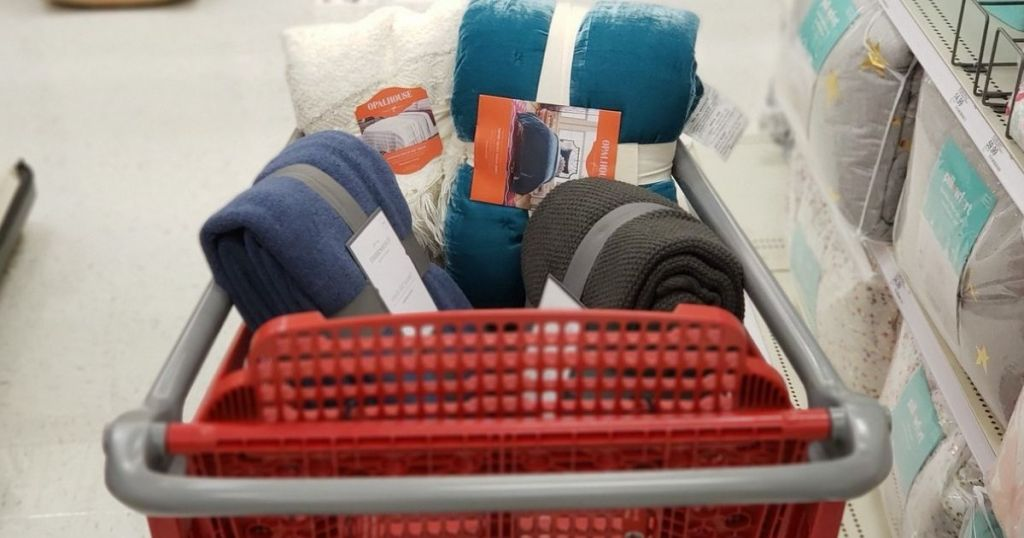 Shopping Cart filled with bedding items