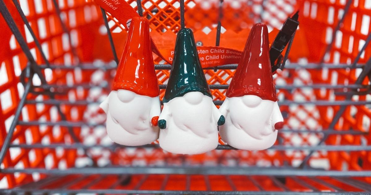 ceramic gnomes in target shopping cart