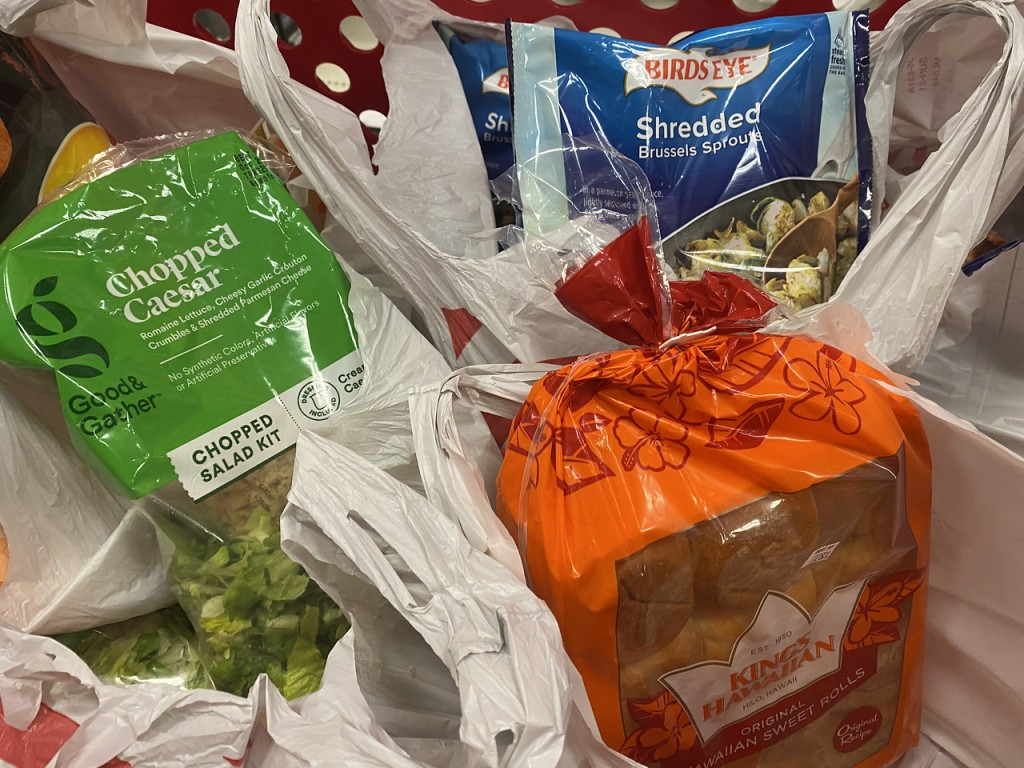 Target salad bread and vegetables in bags