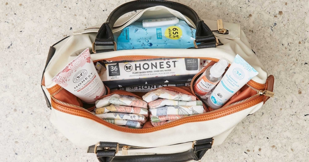 diaper bag full of the honest company products