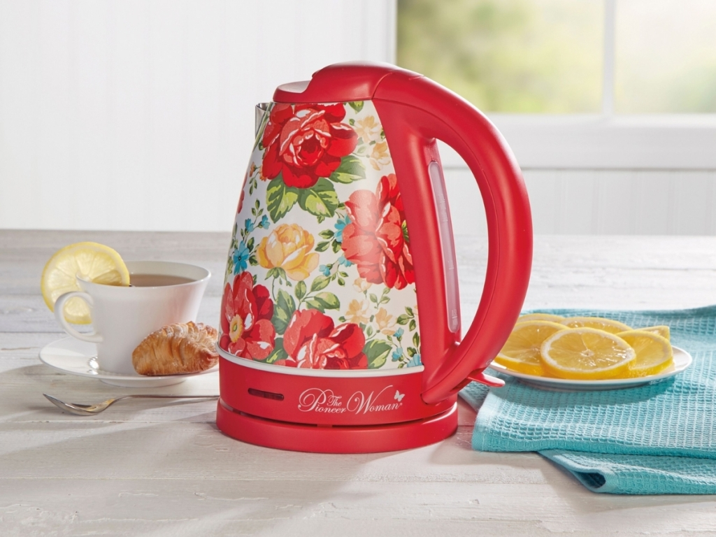 red floral the pioneer woman tea kettle