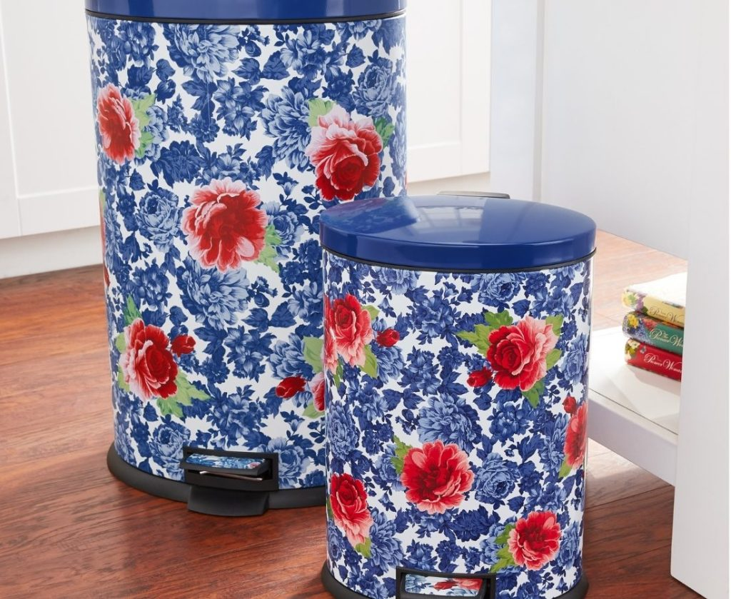 the pioneer woman blue floral trash cans