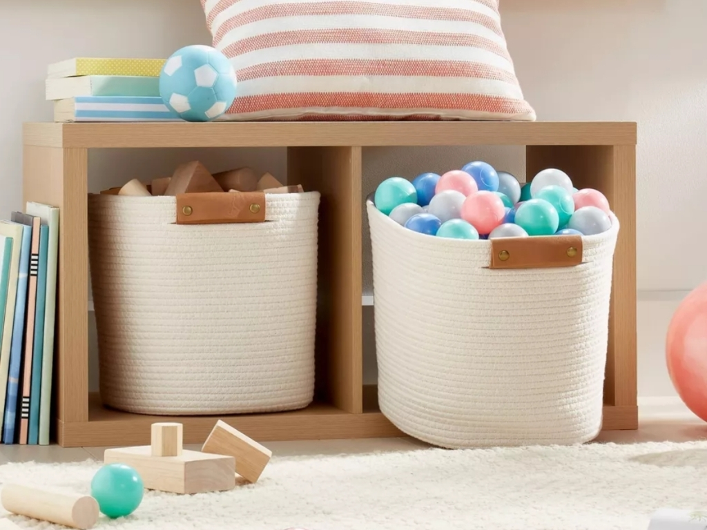 threshold 13 inch coiled rope storage basket with toys inside