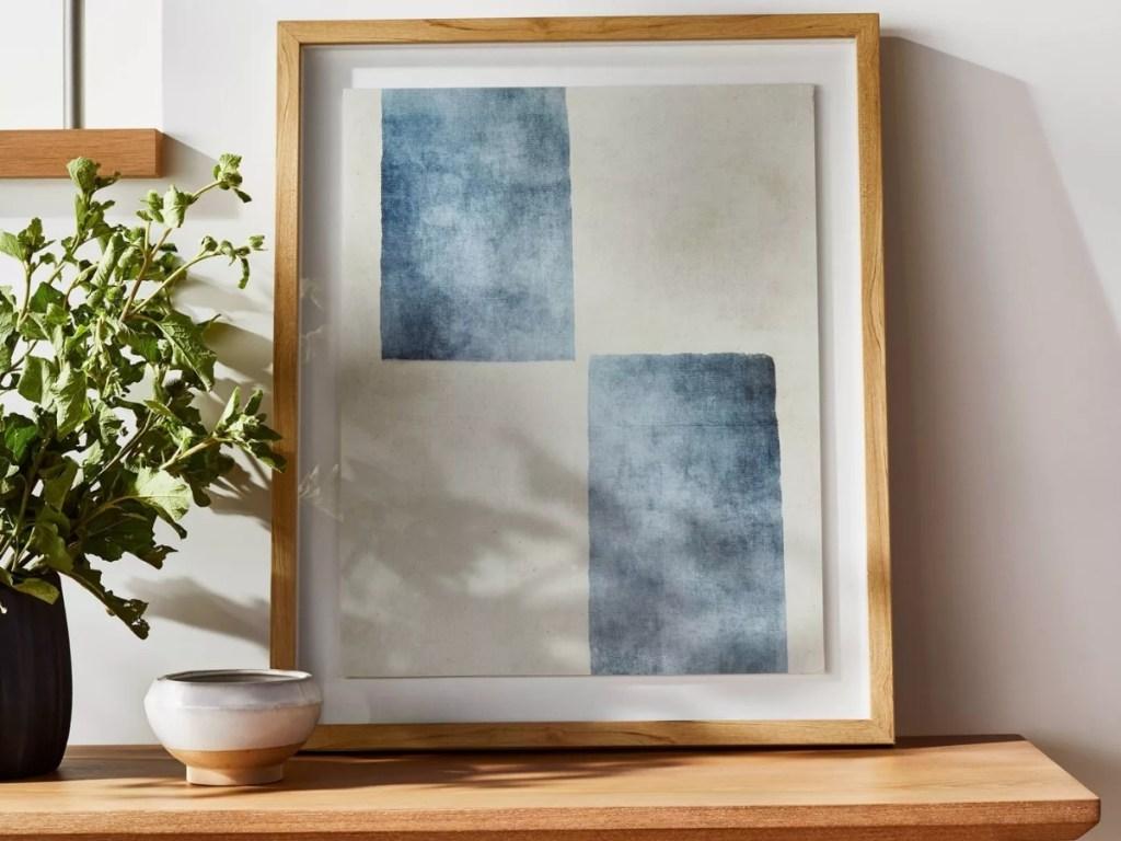 threshold blue/white wall art