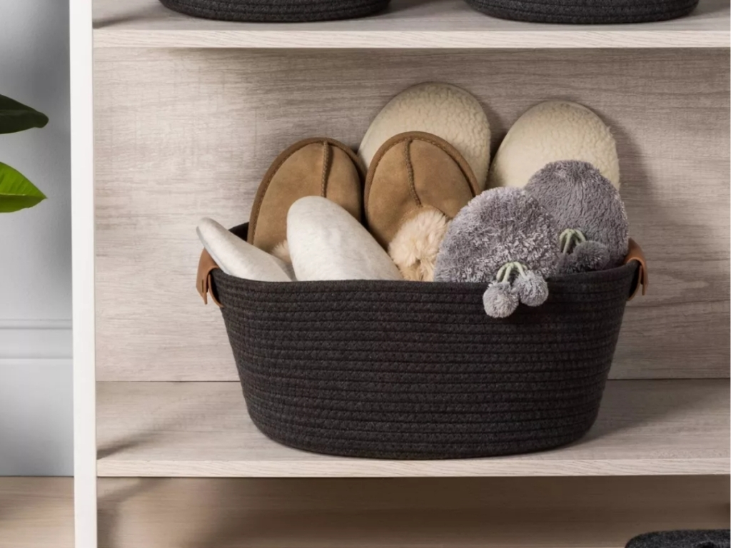 threshold warm gray coiled rope basket with slippers