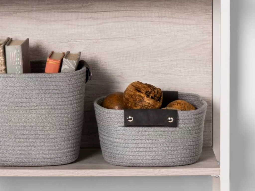 threshold small light gray coiled rope basket with decorations