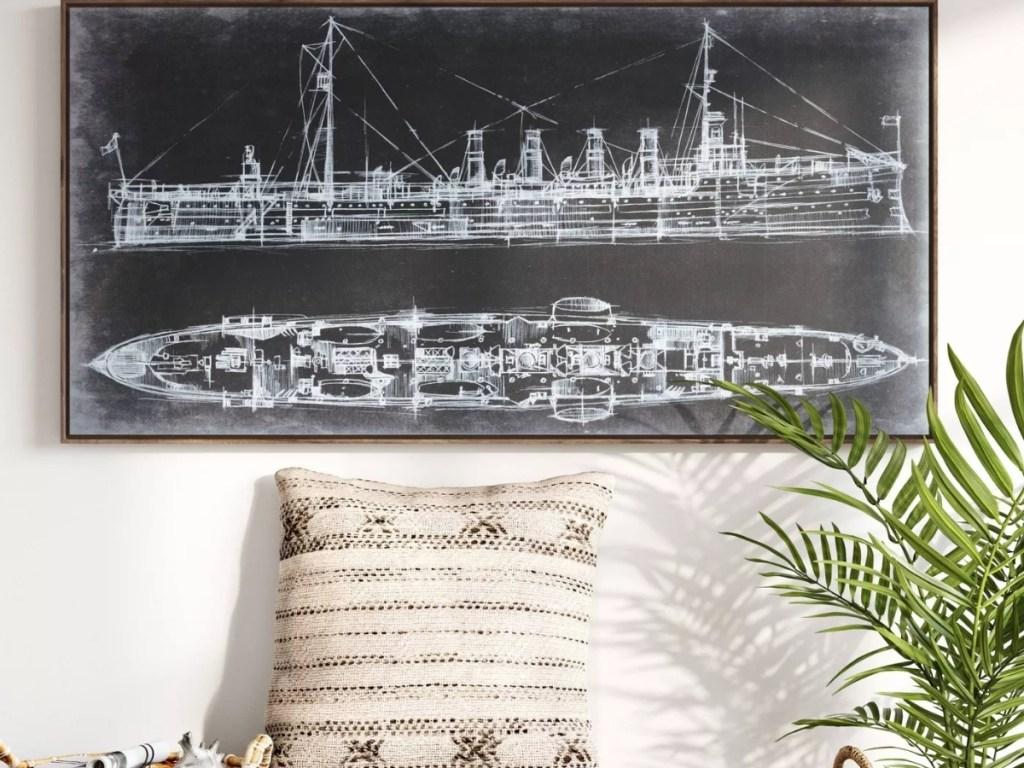 threshold ship blueprint wall art