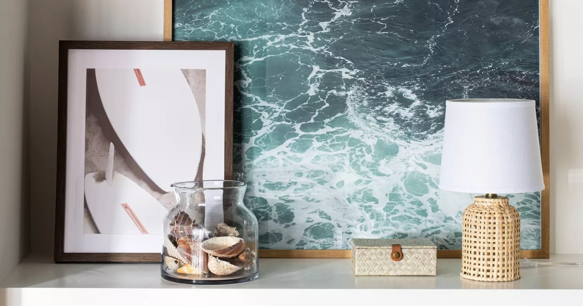 threshold surfs up wall art with ocean print