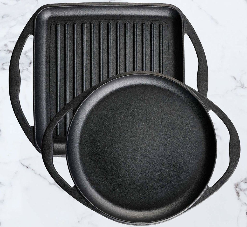 cast iron grill and griddle set