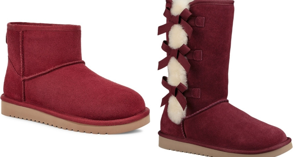 red koola and red victoria boots by ugg