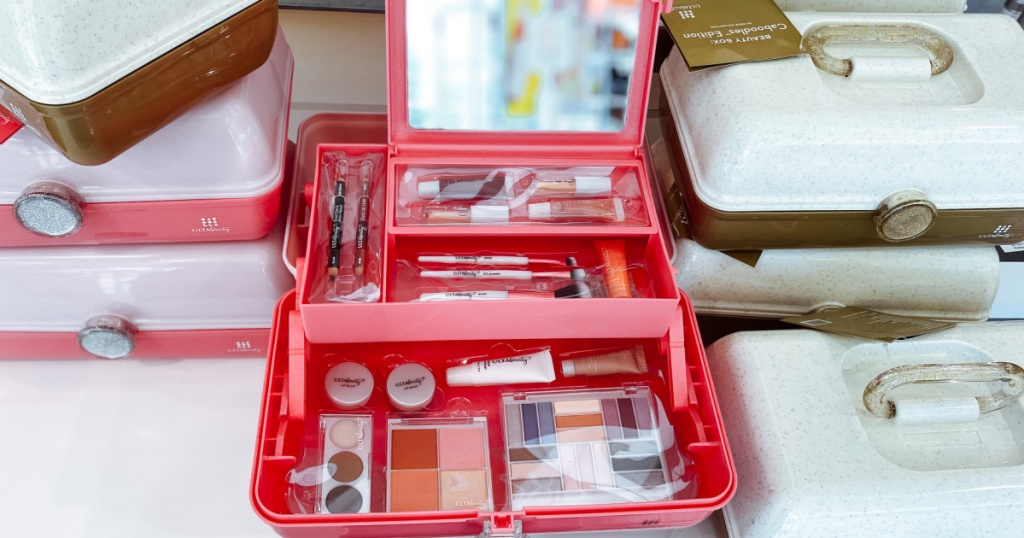 ulta beauty caboodles kit open and on display in a store