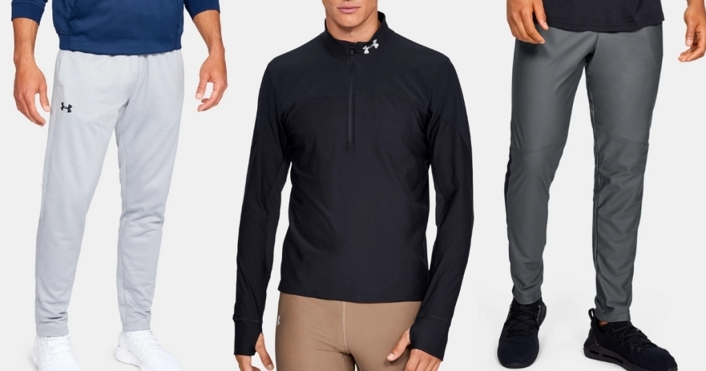 under armour men's black jacket, and 2 pairs of grey pants