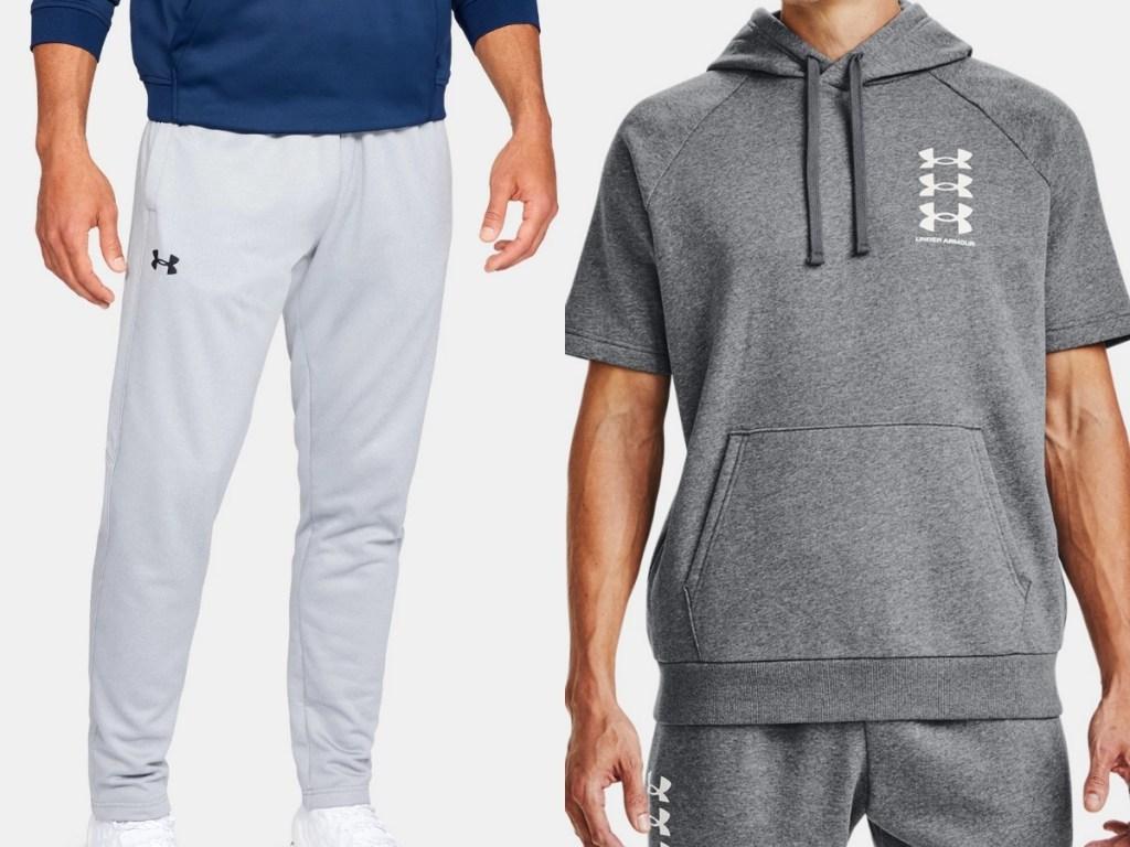 under armour grey fleece pants and grey short sleeved hoodie