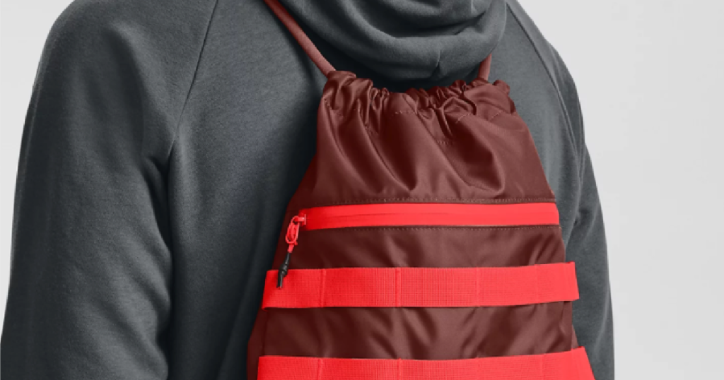 guy wearing Under Armour Red Sackpack