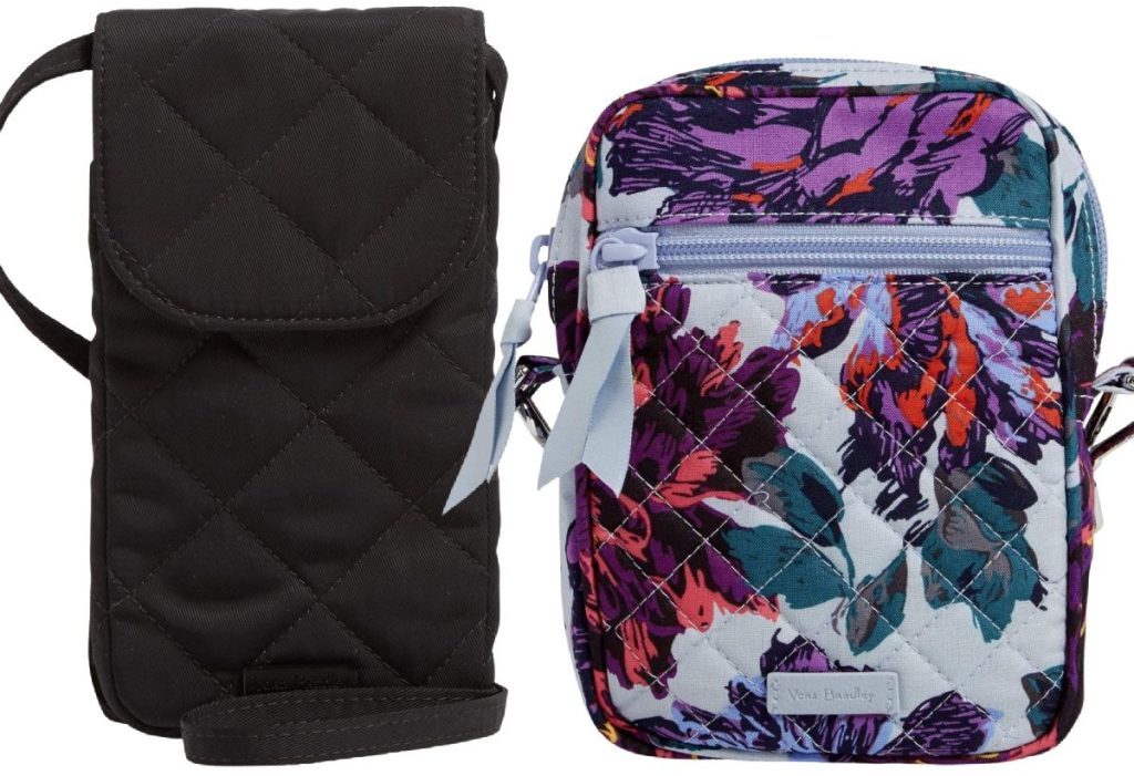 black crossbody bag and purple floral print crossbody bag