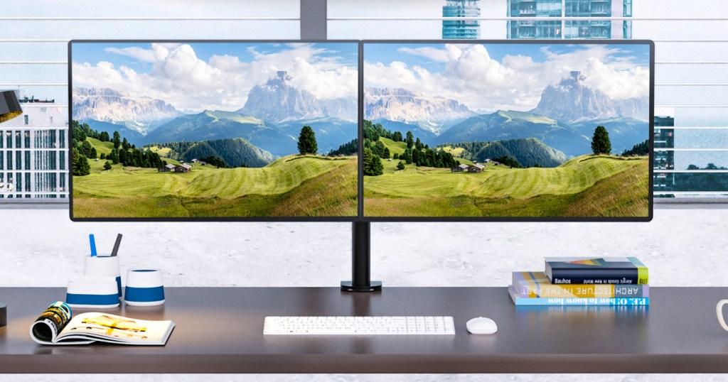 WALI Dual Fully Adjustable Monitor Desk Mount