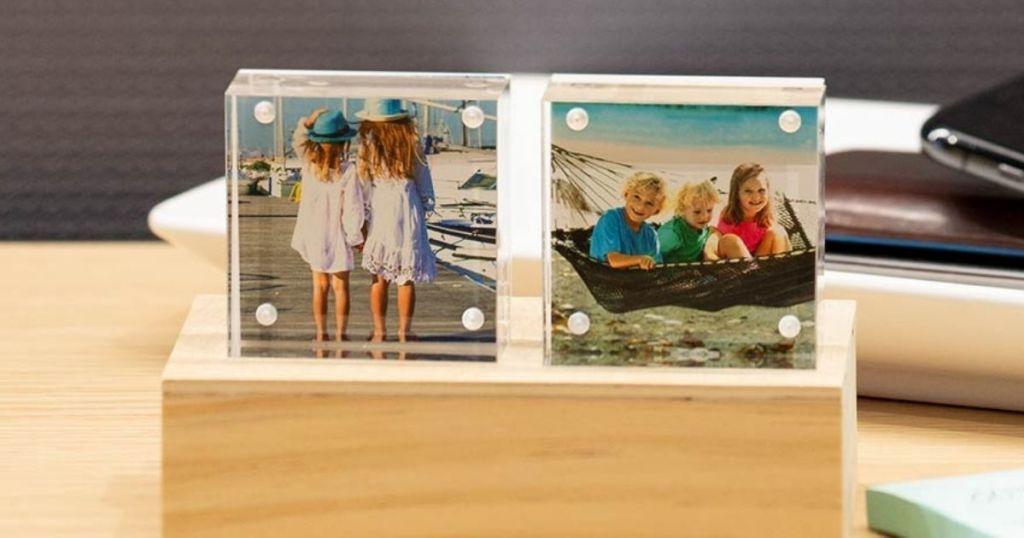 Walgreens Acrylic Photo Blocks on a wooden block