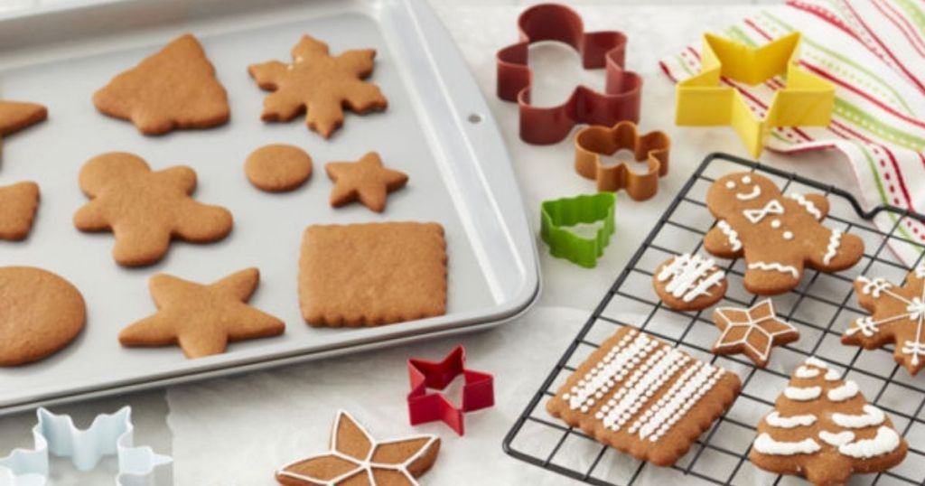 Wilton Baking Set with cookie cutters, cookie sheet and cooling rack