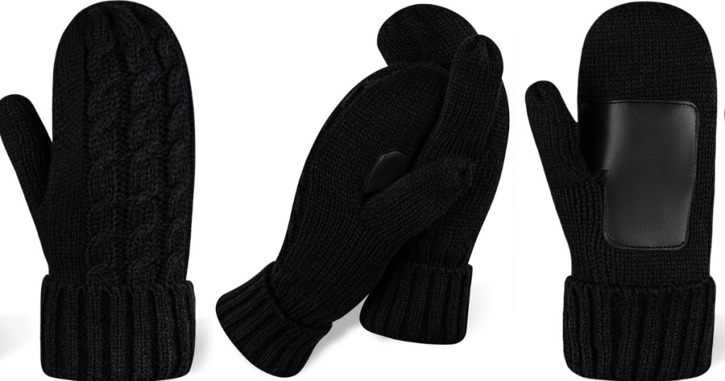 Women's Fleece-lined Mittens W/ Non-slip Palms Conscionable $8 On Amazon | Large Stocking Stuffer Thought