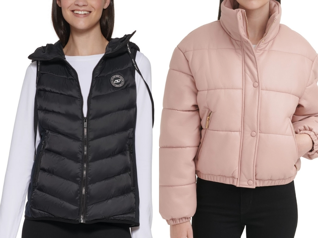 dkny women's puffer vest and guess puffer coat
