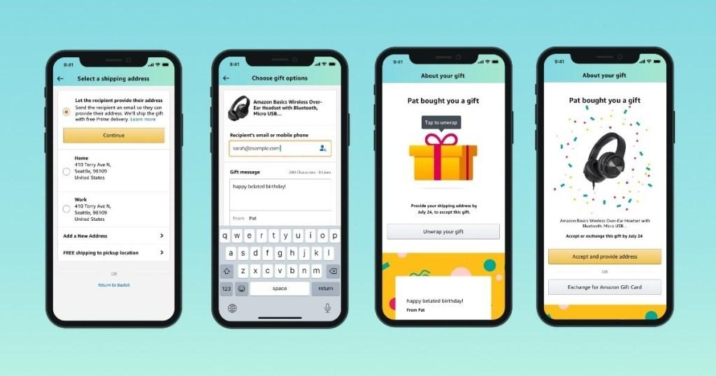 4 screenshots of Amazon app
