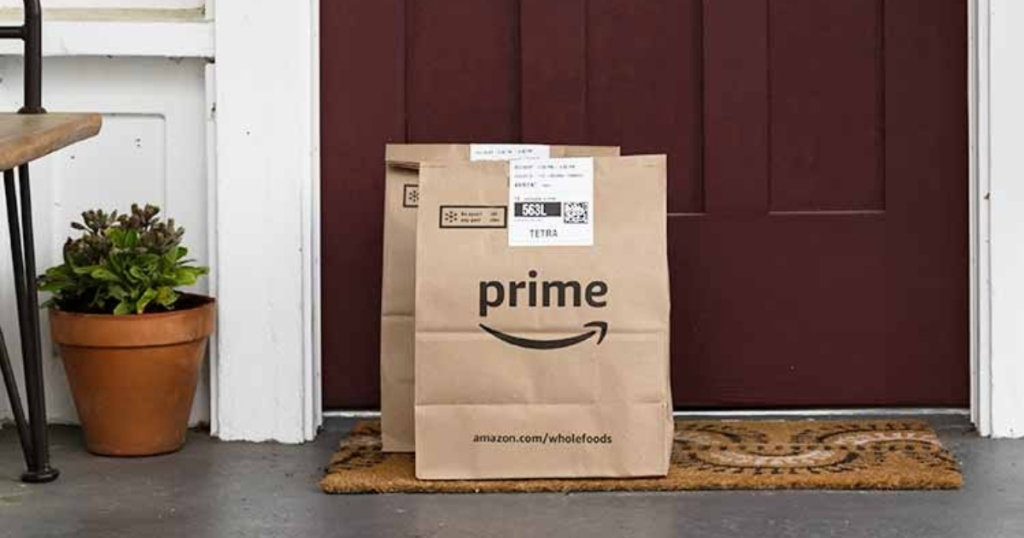 bagged groceries from Amazon on porch