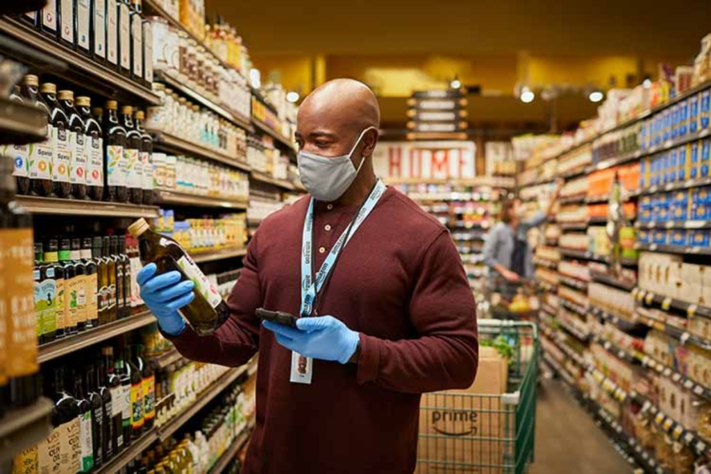Amazon employee shopping at Whole Foods
