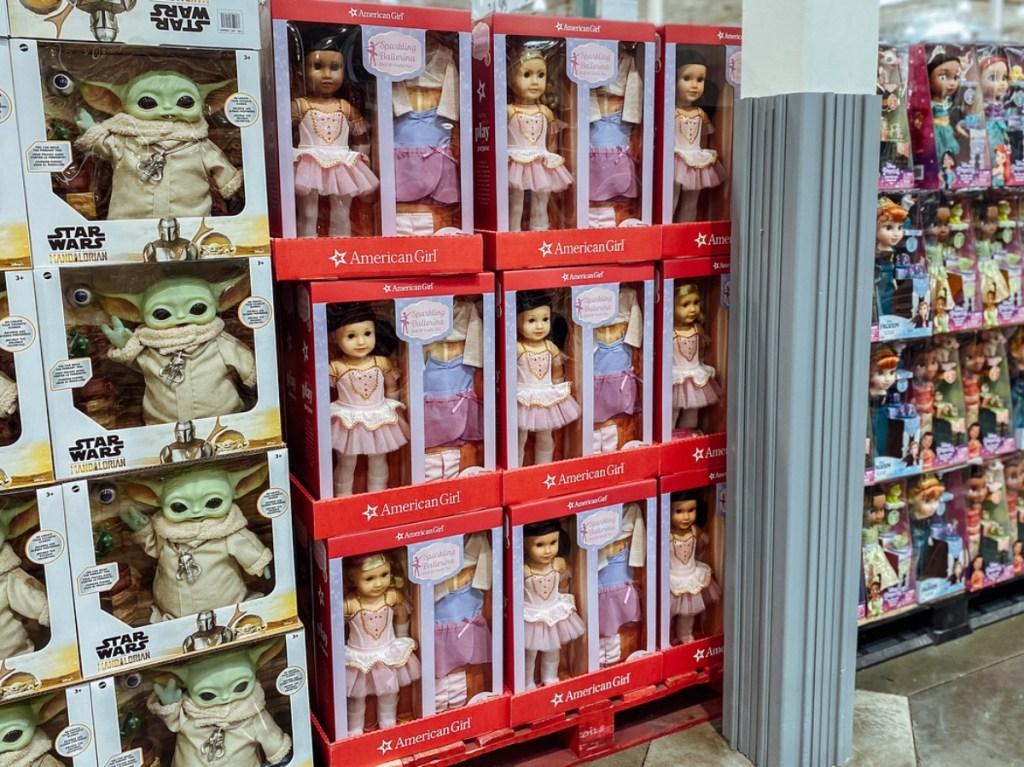American Girl Dolls on display at Costco