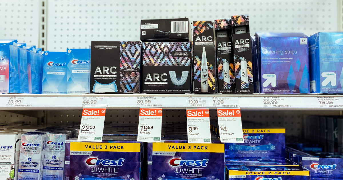 arc whitening products on a target store shelf