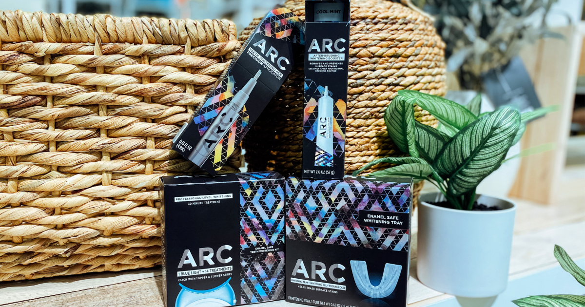 arc whitening products in front of a basket display