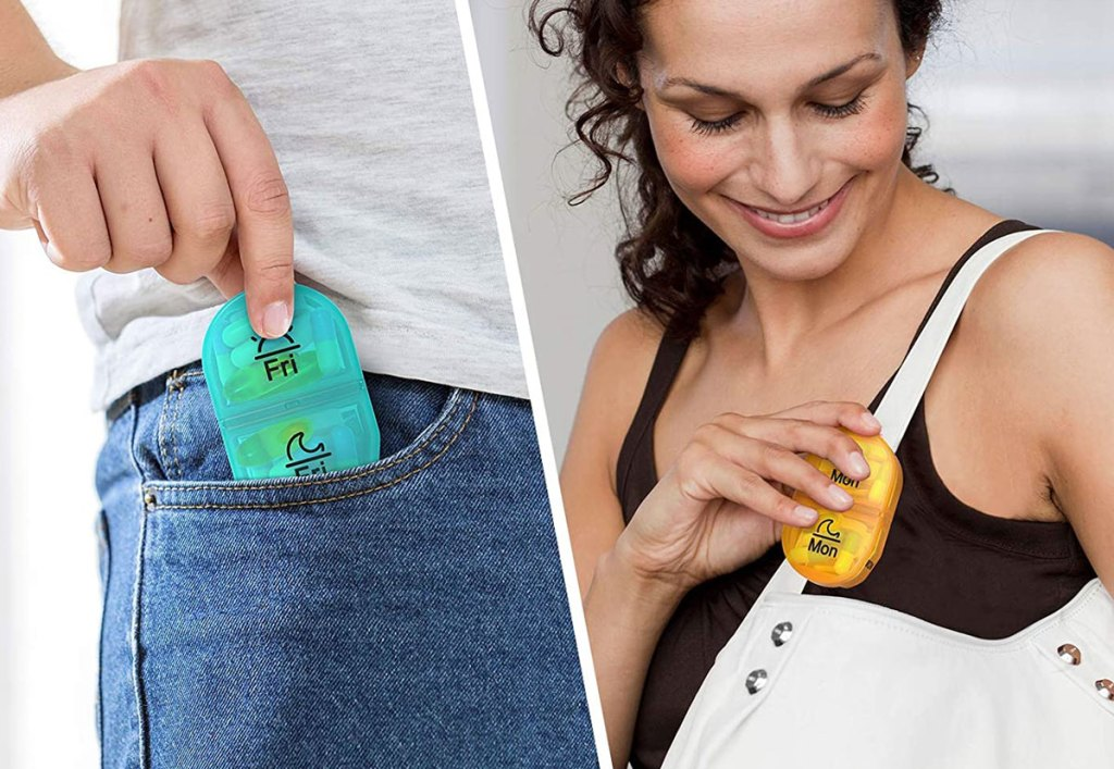 people placing pill organizers into pocket and purse