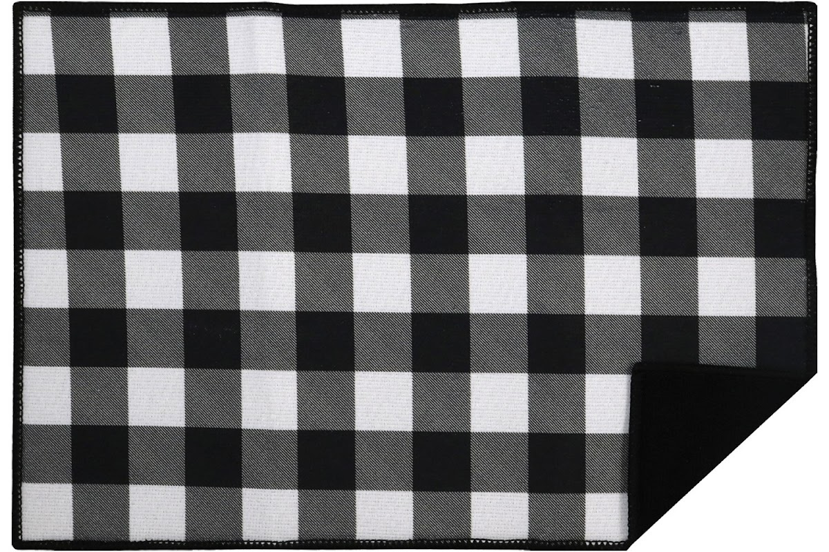 Black and White Buffalo Check Drying Mat