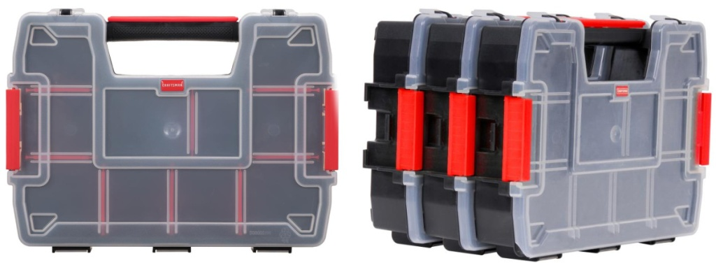 front and side view of 3 pack storage containers