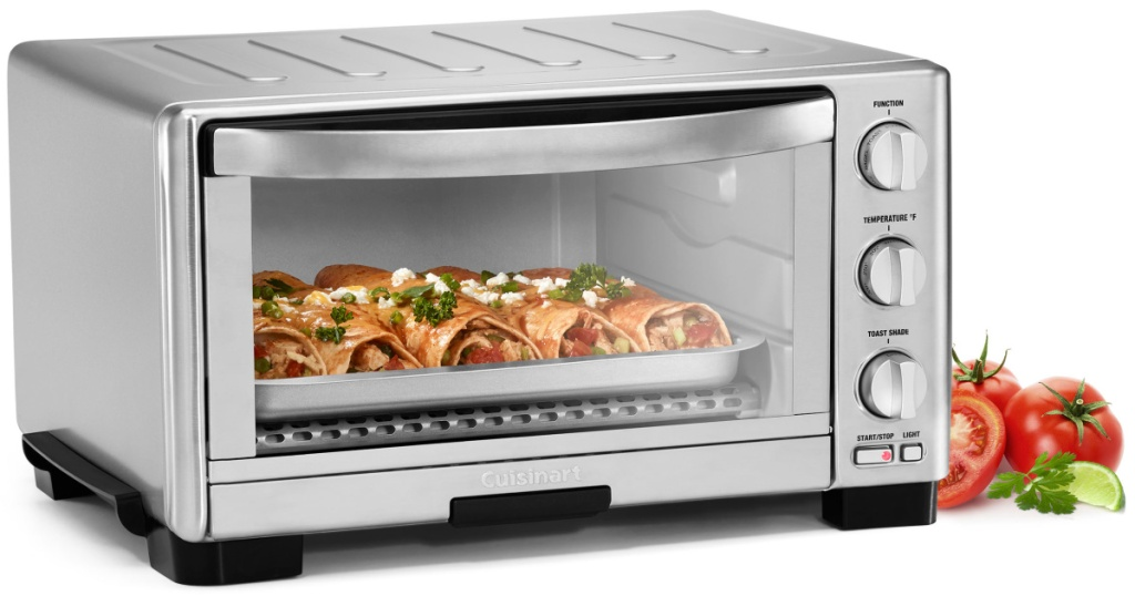 Cuisinart toaster oven filled with burritos