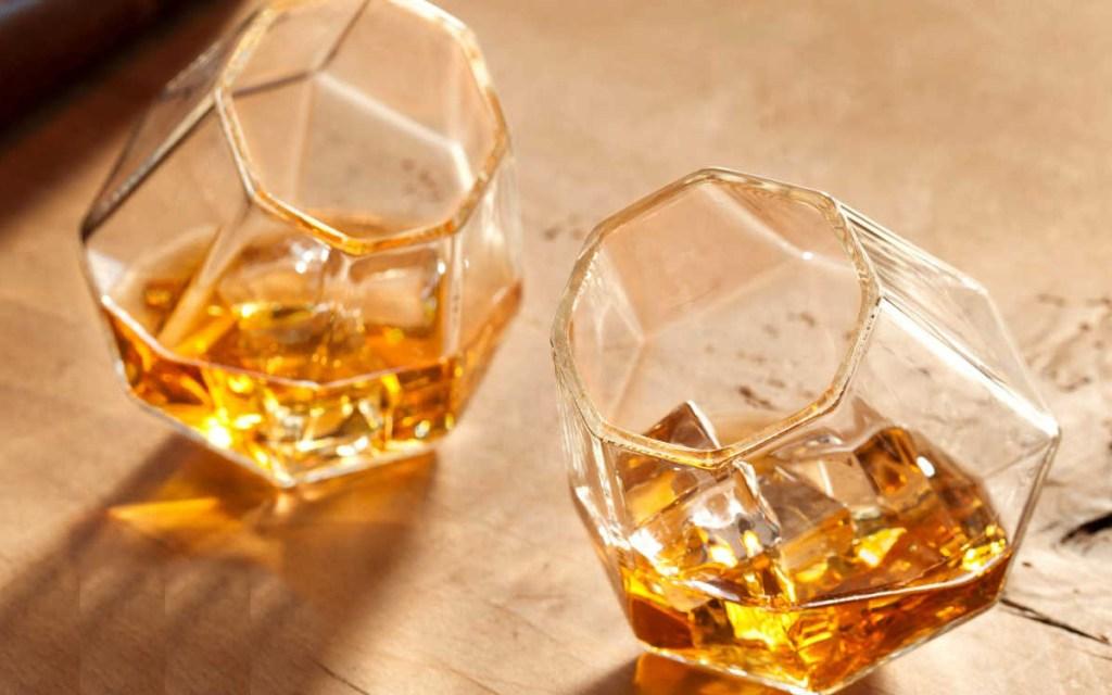 set of diamond whiskey glasses